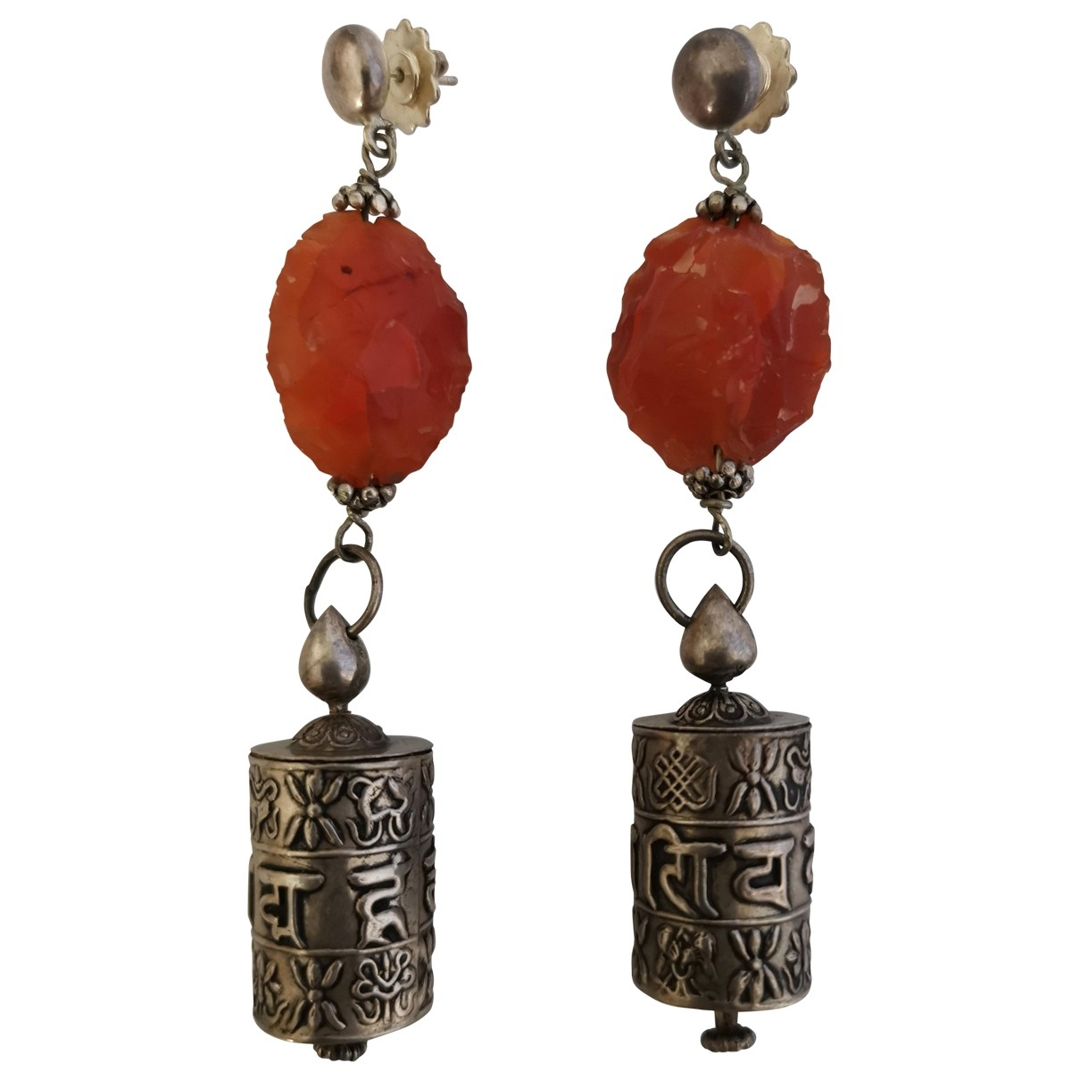Non Signé / Unsigned Motifs Ethniques Orange Silver Earrings for Women \N