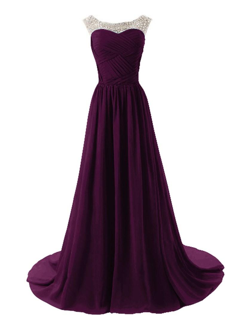 Glamorous Scoop Neckline A-Line Sweep Train Evening Dress