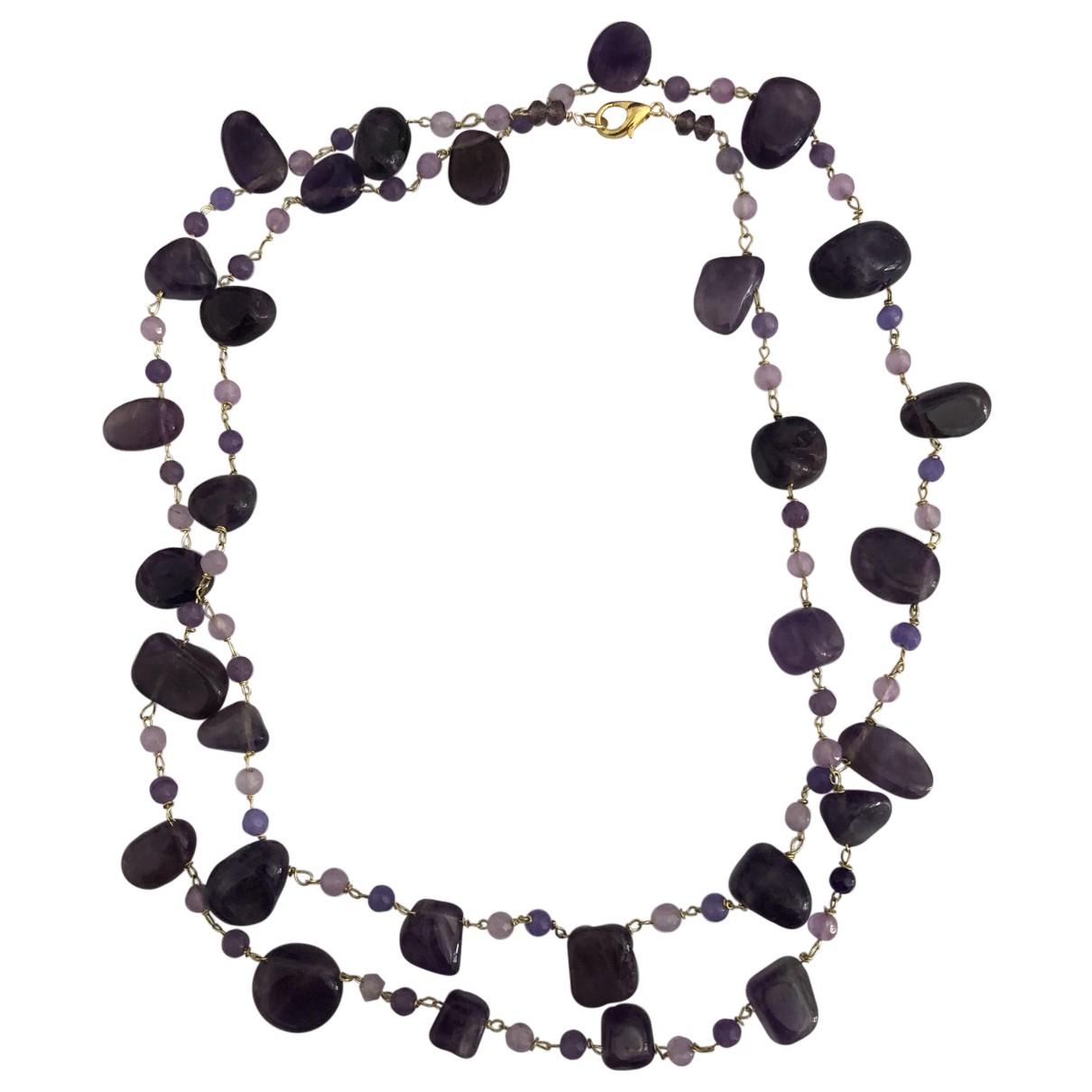 - Collier Amethyste pour femme en perles - violet