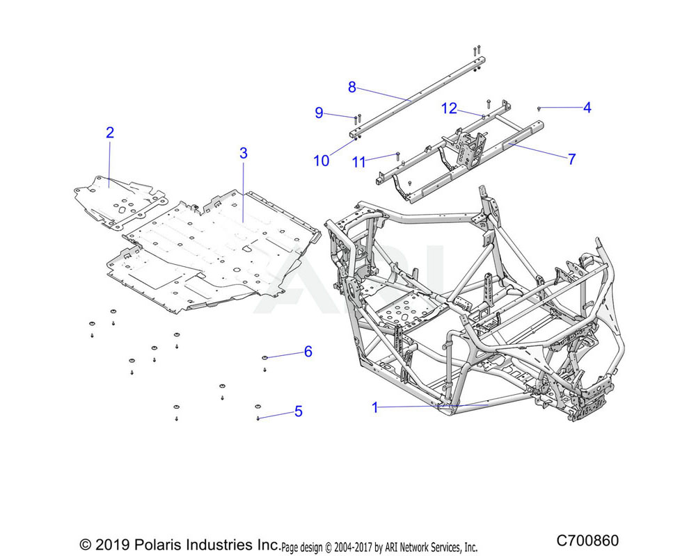 Polaris OEM 1024911-458 WELD-FRAME CHASSIS, BLK