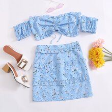 Polka Dot & Floral Crop Top & Frill Trim Skirt Set