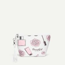 Rose & Cosmetic Pattern Makeup Bag