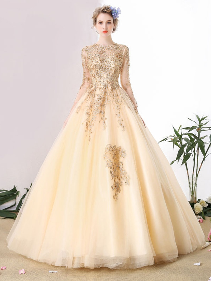 Ericdress Jewel Neck Long Sleeves Lace Pearls Floor-Length Ball Gown Quinceanera Dress