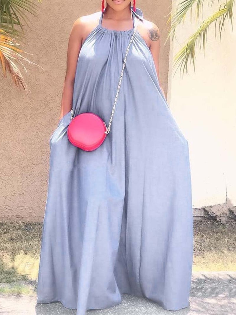 Ericdress Pleated Sleeveless Floor-Length Pullover Plain Dress
