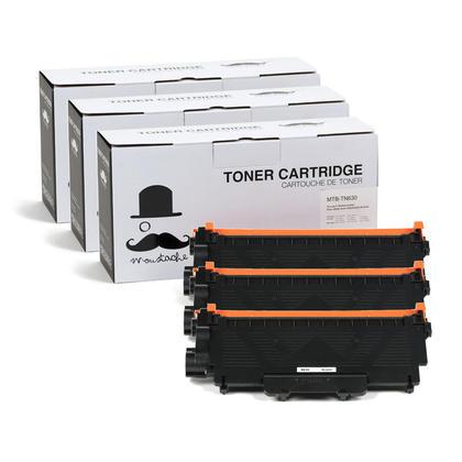 Compatible Brother TN-630 Black Toner Cartridge - Moustache@ - 3/Pack