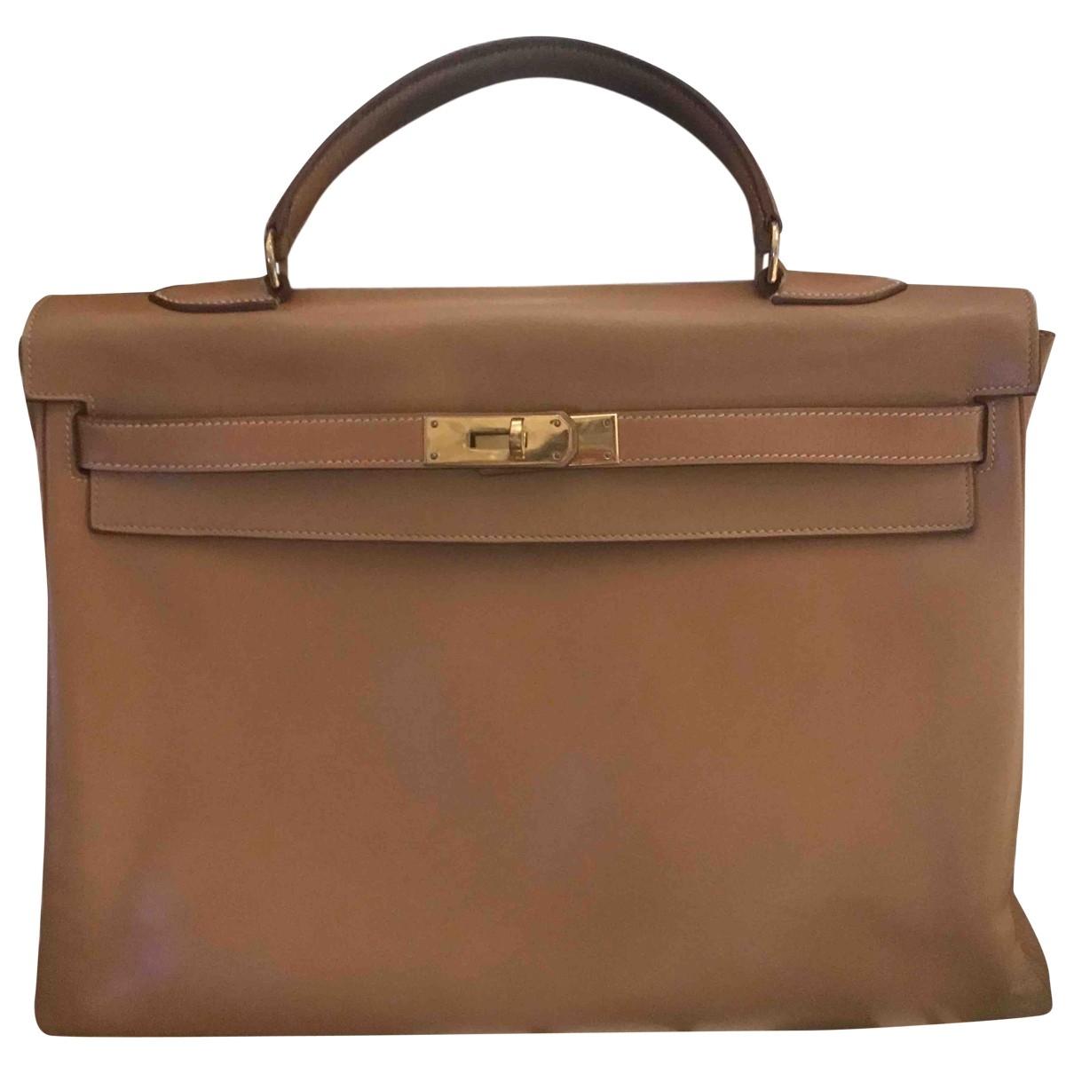 Hermes Kelly 35 Handtasche in  Kamel Leder