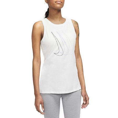 Nike Womens Round Neck Sleeveless Tank Top, Small , White