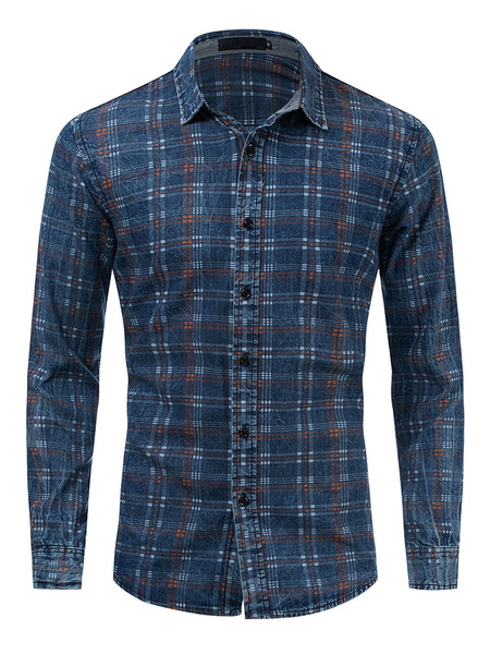 Milanoo Men\'s Regular Fit Denim Plaid Shirt In Blue
