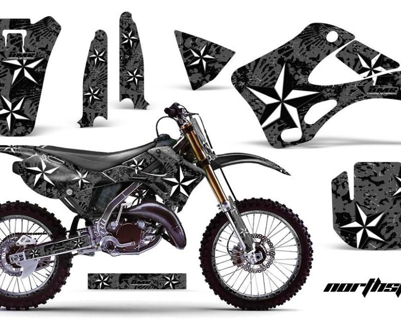 AMR Racing Graphics MX-NP-KAW-KX125-KX250-99-02-NS K Kit Decal Wrap + # Plates For Kawasaki KX125 | KX250 1999-2002áNORTHSTAR BLACK