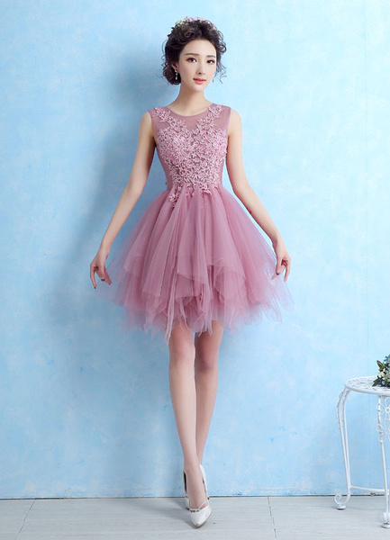 Milanoo Tulle Cocktail Dress Illusion Lace Applique Prom Dress Cameo Pink Sleeveless Tiered Homecoming Dress