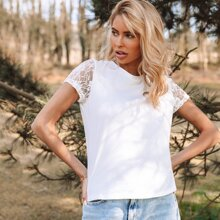 Lace Sleeve Solid Top
