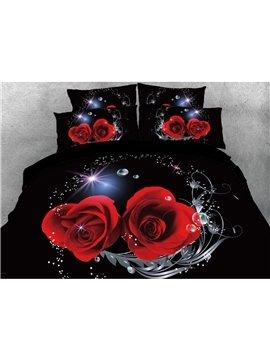 Vivilinen 3D Shinning Heart-shaped Red Rose Printed 4-Piece Bedding Sets/Duvet Covers
