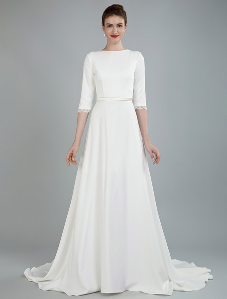 Milanoo Simple Wedding Dress Beaded Sash Backless Bateau Neck Half Sleeves A Line Bridal Gowns With Court Train