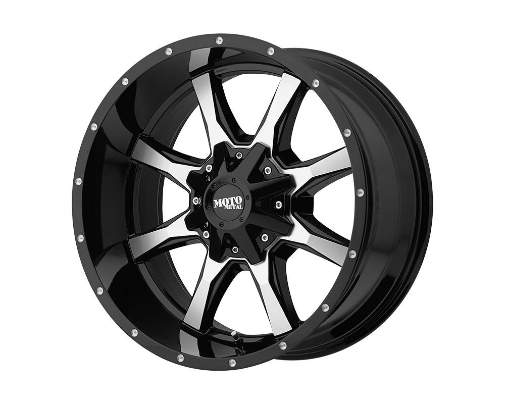 Moto Metal MO97022088318N MO970 Wheel 22x10 8x8x180 -18mm Gloss Black Machined Face