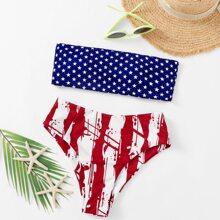 Star & Striped Print Bandeau Bikini Swimsuit