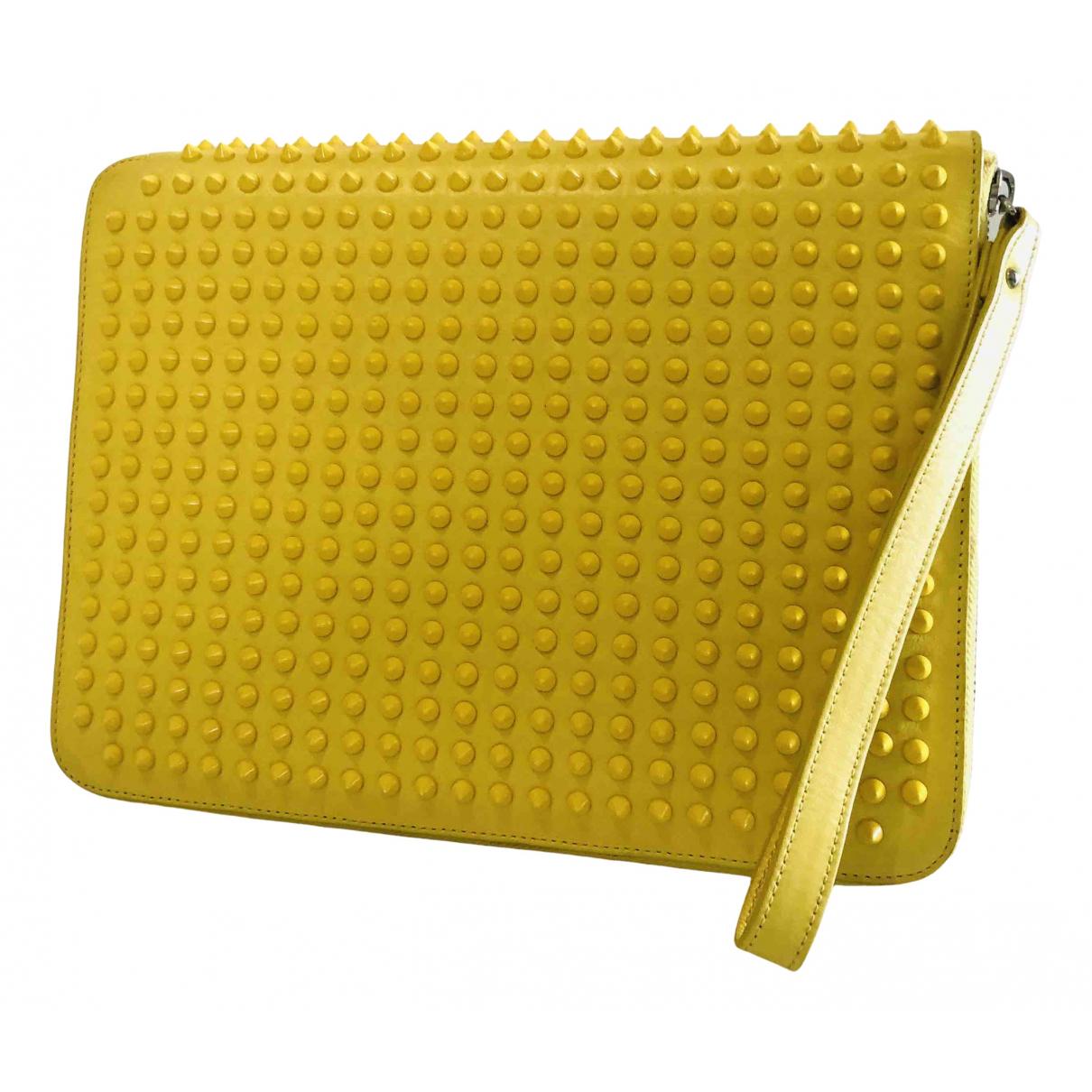 Christian Louboutin - Pochette   pour femme en cuir - jaune