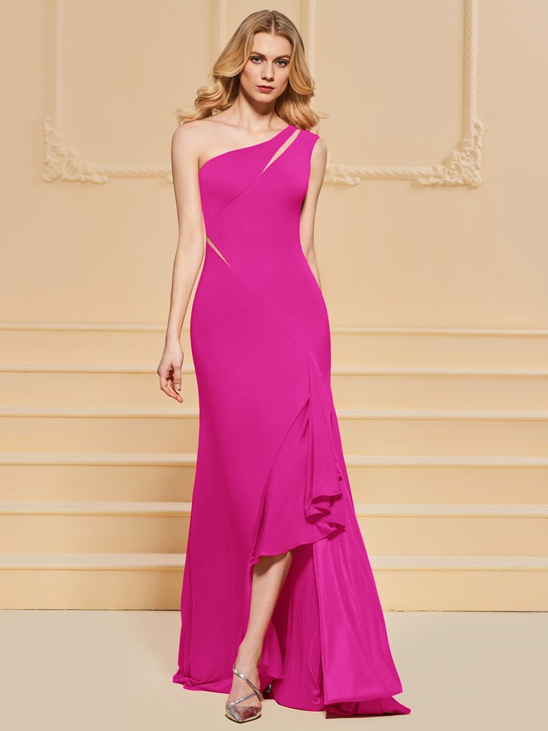 Ericdress Sheath One Shoulder Split Side Prom Dress