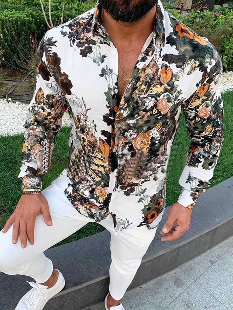 Ericdress Floral Casual Lapel Men's Slim Fall Shirt