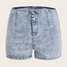 Plus Button Waist Denim Shorts