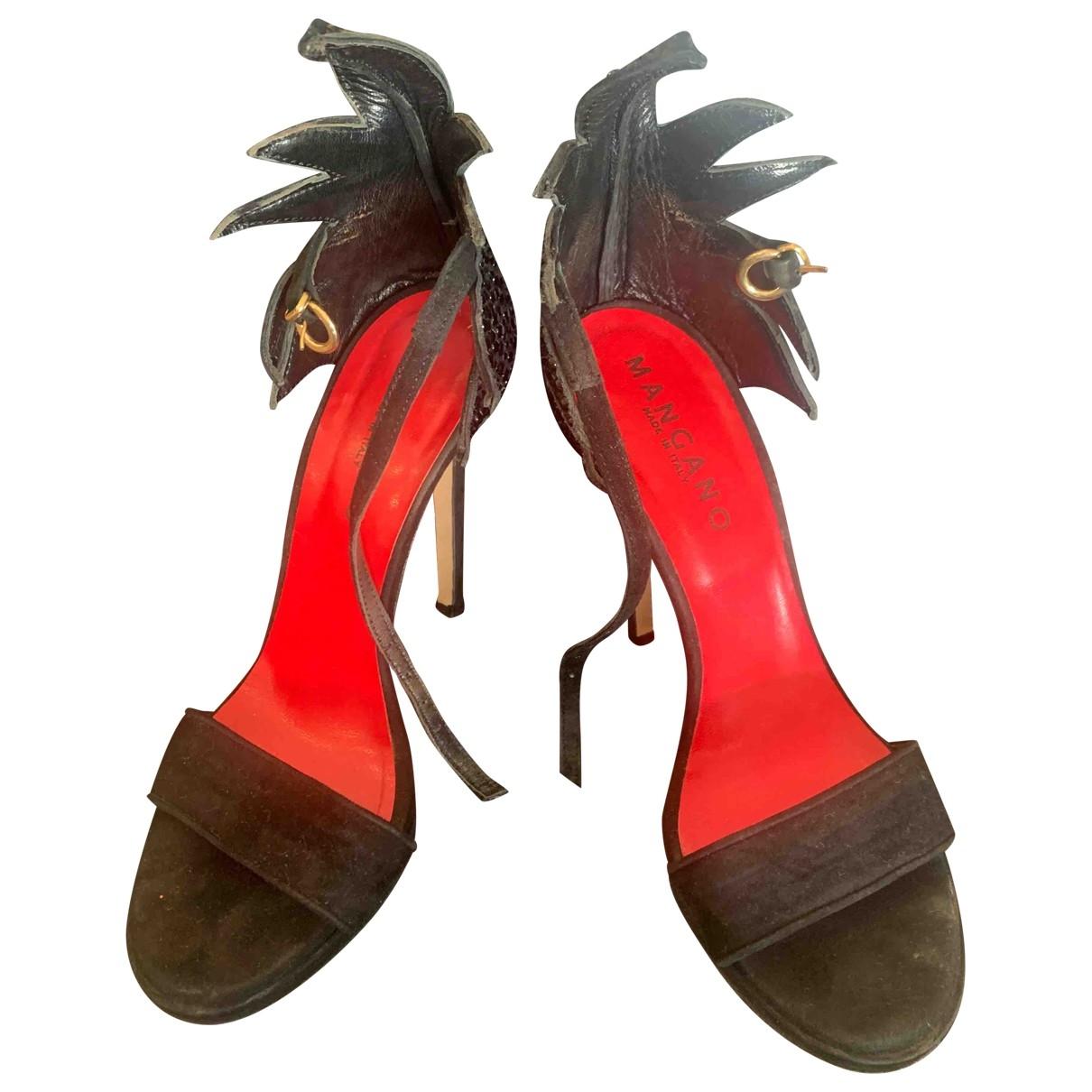 Mangano \N Black Leather Heels for Women 37 IT