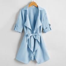 Abrigo con cinturon de manga doblada