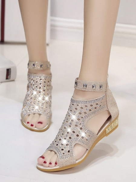 Yoins Fashion Hollow Rhinestone Sandals