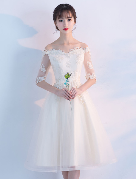 Milanoo Ivory Homecoming Dresses Tulle Off The Shoulder Cocktail Dress Illusion Half Sleeve Knee Length Graduation Dress