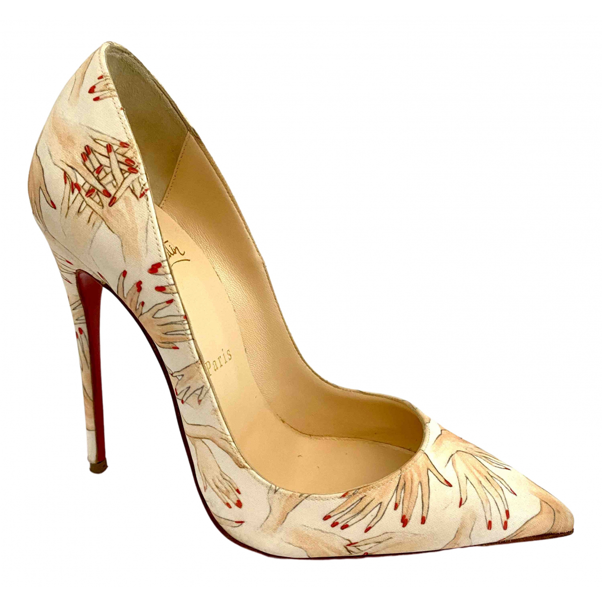 Christian Louboutin So Kate  Pumps in  Beige Leinen