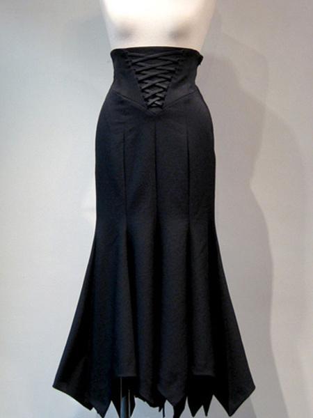 Milanoo Gothic Lolita SK Black Lace Up Lolita Skirts