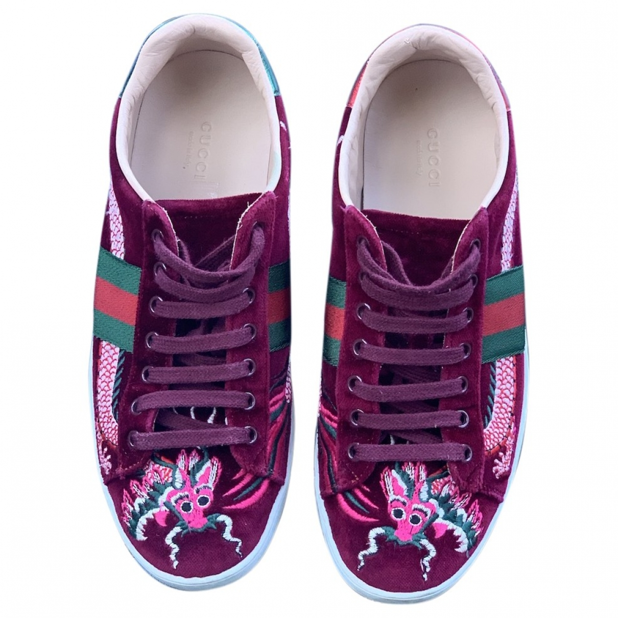 Gucci Ace Burgundy Velvet Trainers for Women 38.5 EU