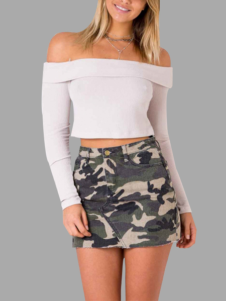 Yoins Army Print Camouflage Pattern Mini Skirts