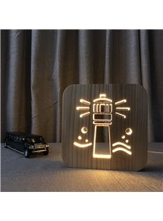Natural Wooden Creative Lighthouse Pattern Design Light for Kids