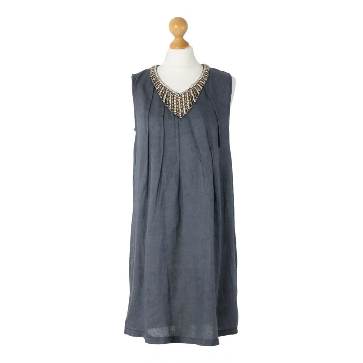 120% Lino \N Kleid in  Grau Leinen
