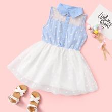 Kleinkind Maedchen Kleid mit Punkten Muster und Netzeinsatz