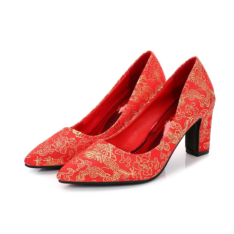 Womens PU High Heel Embroidery Chunky Heel Wedding Shoes