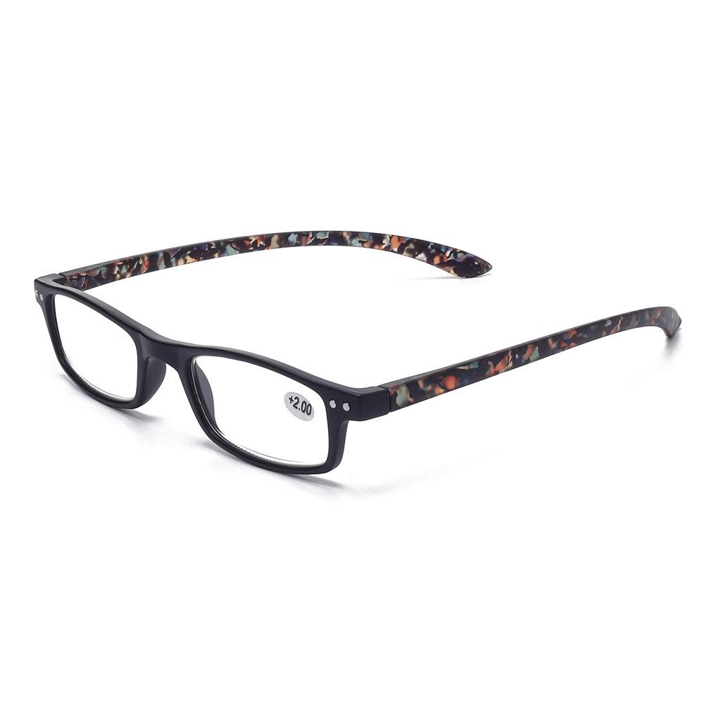 Womens Fashion Vintage Light Flexible High Definition Flower Square Reading Glasses