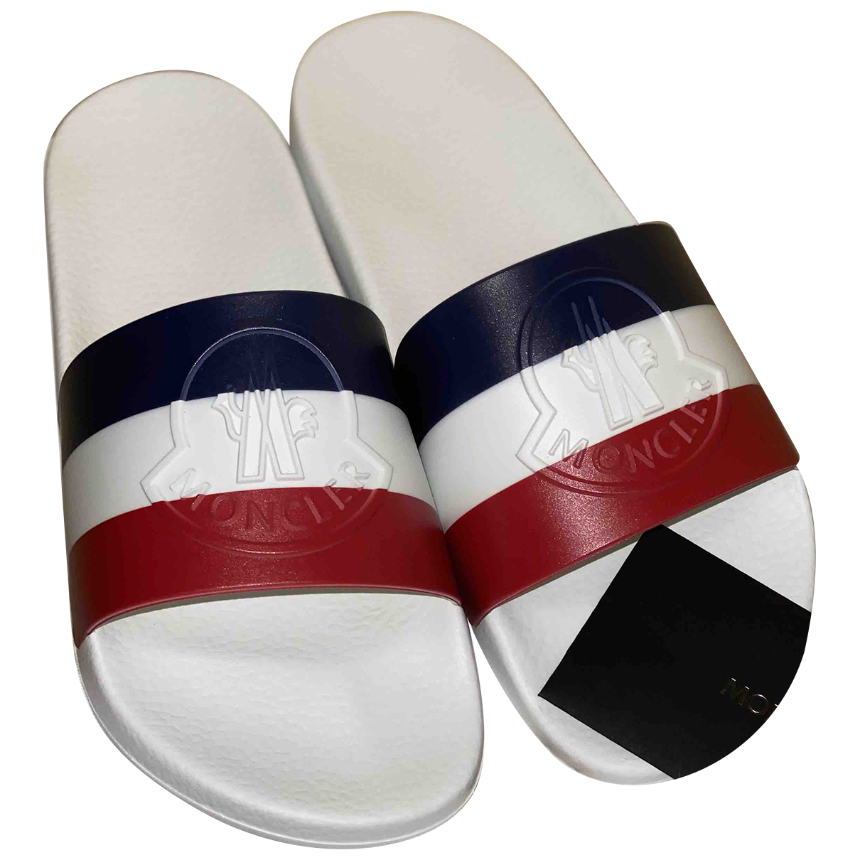 Moncler N White Rubber Sandals for Women 41 EU