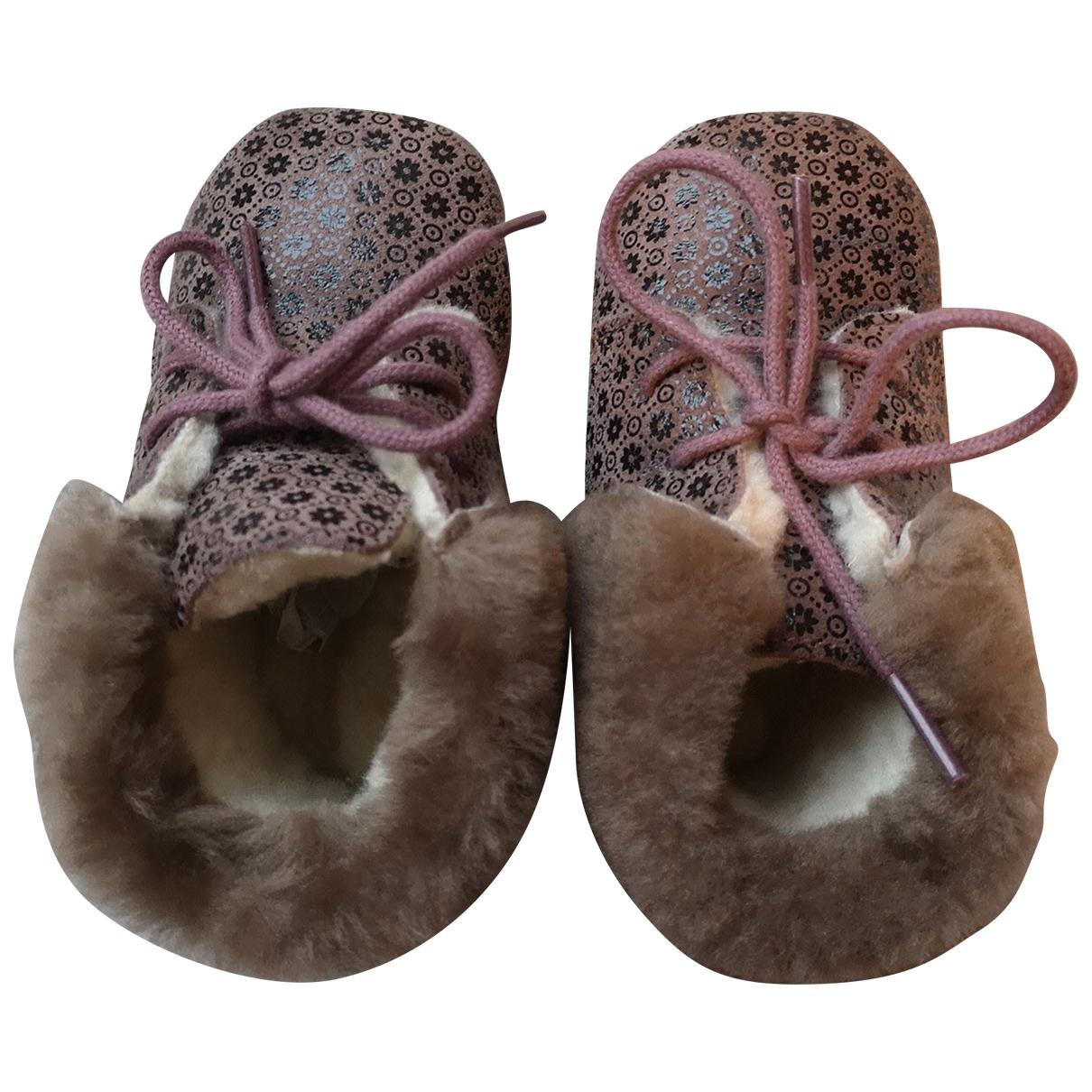 Pom Dapi - Chaussons   pour enfant en cuir - marron