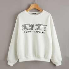 Drop Shoulder Letter Embroidery Pullover