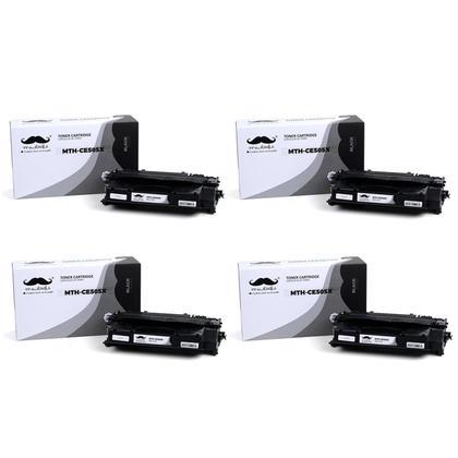 Compatible HP 05X CE505X Black Toner Cartridge High Yield - Moustache - 4/Pack