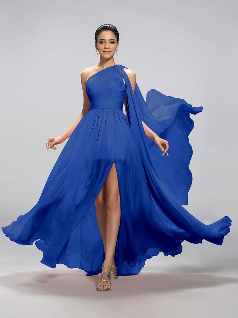 Classy One-Shoulder Split-Front Pleats Evening Dress