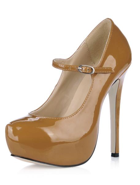 Milanoo Tacones Altos de Mujer Platadema 2020 Punta Reronda Zapatos de Mary Jane Tacon de Aguja Fucsia Zapatos Clasicos