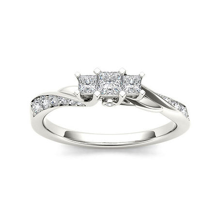 1/2 CT. T.W. Diamond 10K White Gold 3-Stone Engagement Ring, 6 , No Color Family