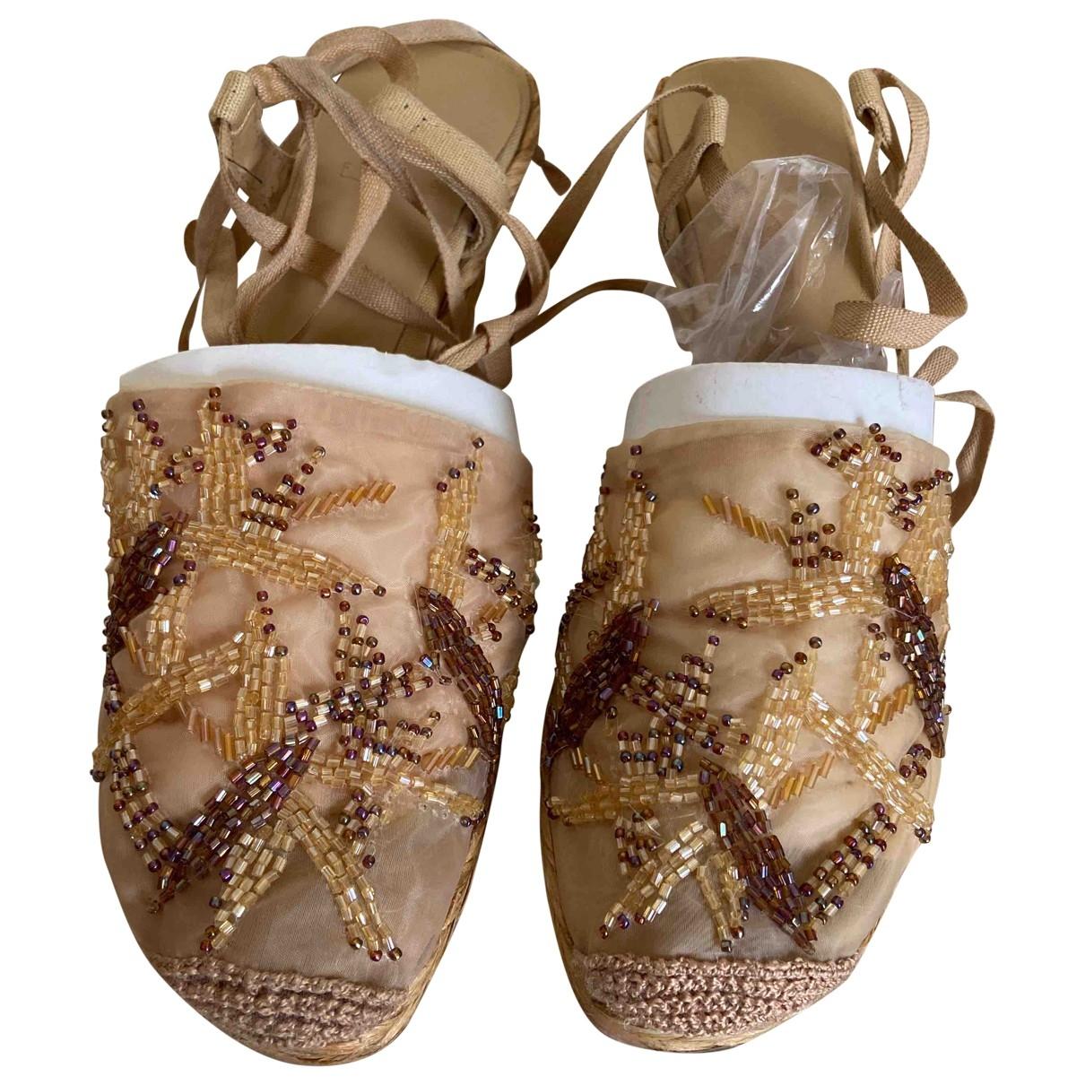 - Sandales   pour femme en a paillettes - camel