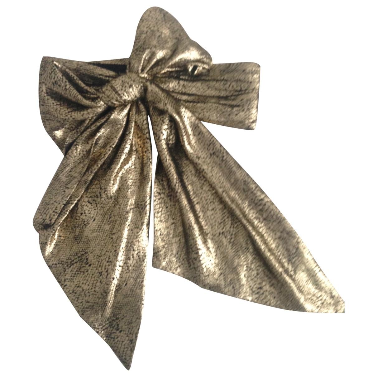 Yves Saint Laurent \N Gold Silk belt for Women 80 cm