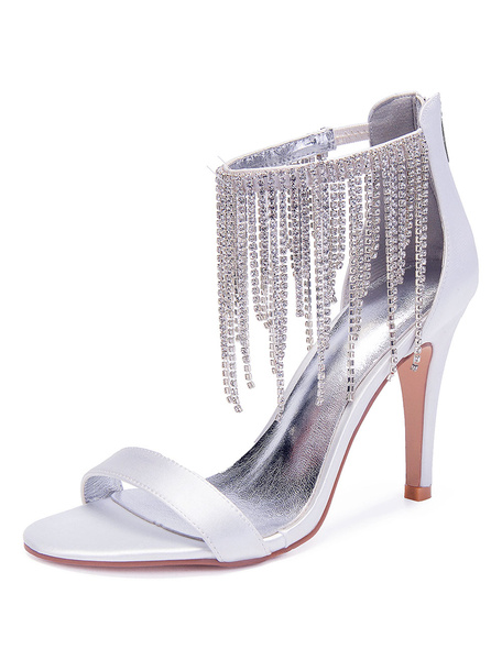Milanoo White Wedding Shoes Satin Open Toe Rhinestones Ankle Strap High Heel Sandals