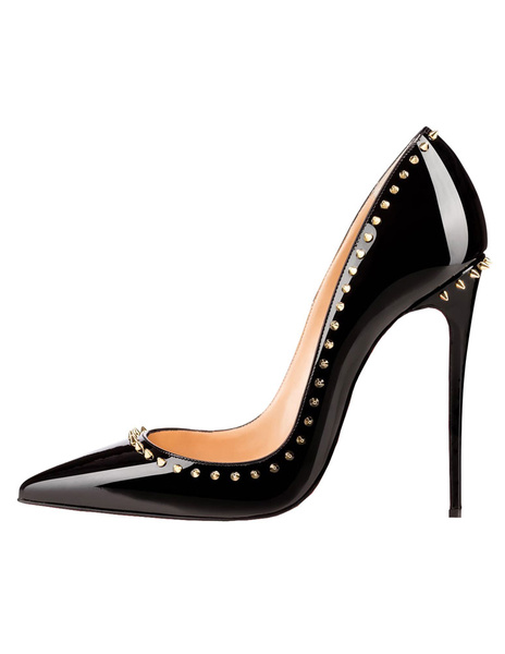 Milanoo Black High Heels 2020 Pointed Toe Dress Shoes Women Basic Pumps with Rivets