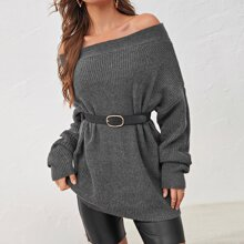 Drop Shoulder Oversized Bardot Sweater Without Belted
