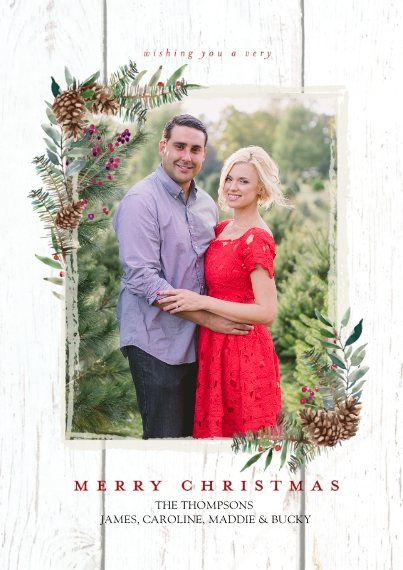 Christmas Photo Cards 5x7 Cards, Premium Cardstock 120lb, Card & Stationery -Christmas Rustic Foliage Corners by Tumbalina