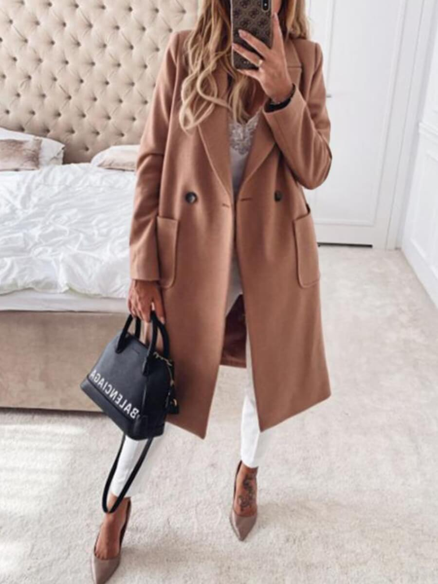 LW Lovely Casual Turndown Collar Pocket Patched Khaki Plus Size Trench Coat